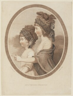 Maria Josepha Stanley (née Holroyd), Lady Stanley of Alderley; Louisa Dorothea Clinton (née Holroyd), by and published by John Baldrey, after  John Downman, published 1 January 1783 - NPG D15310 - © National Portrait Gallery, London