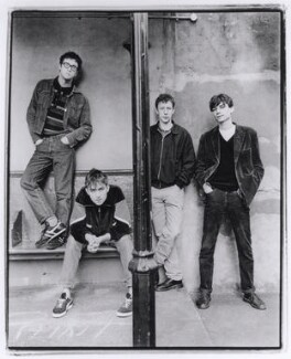 Blur (Dave Rowntree; Damon Albarn; Graham Coxon; Alex James), by Harry Borden, 10 March 1994 - NPG x87202 - © Harry Borden