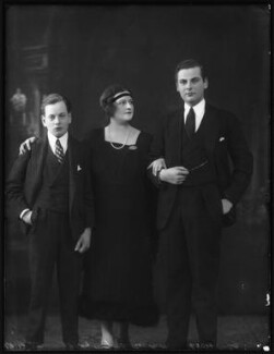 Hon. David William Ernest Duncombe; Marjorie Blanche Eva Duncombe (née Greville, later Beckett), Countess of Feversham of Ryedale; Charles Duncombe, 3rd Earl of Feversham, by Bassano Ltd - NPG x123122