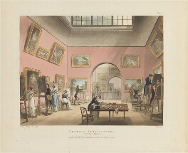 'British Institution (Pall Mall)', by Thomas Rowlandson, and by  Auguste Charles Pugin, aquatinted by  John Bluck, published by  Rudolph Ackermann - NPG D15343