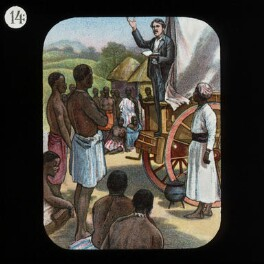 Preaching from a Waggon (David Livingstone), by Unknown artist, published by  The London Missionary Society - NPG D18387