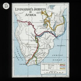 Map showing Travels (relates to David Livingstone), by Unknown artist, published by  The London Missionary Society, circa 1900 - NPG D18388 - © National Portrait Gallery, London