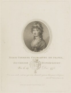 Marie Thérèse Charlotte, duchesse d'Angoulême, by Anthony Cardon, published by and after  Augustin de Saint-Aubin - NPG D15520