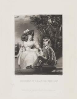 John Angerstein; Juliana Angerstein (later Madame Sabloukoff) (when children), by James Scott, published by  Henry Graves, after  Sir Joshua Reynolds - NPG D15571