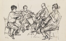 Amadeus Quartet (Norbert Brainin; Siegmund Nissel; Peter Schidlof; Martin Lovett), by Milein Cosman, 1960s - NPG  - © The Cosman Keller Art and Music Trust 2017