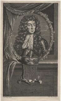 King Charles II, by Pierre Drevet, after  Adriaen van der Werff - NPG D18498