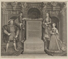 King Henry VIII; King Henry VII; Elizabeth of York; Jane Seymour, by George Vertue, after  Remigius van Leemput, after  Hans Holbein the Younger, 1737 - NPG  - © National Portrait Gallery, London