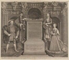 King Henry VIII; King Henry VII; Elizabeth of York; Jane Seymour, by George Vertue, after  Remigius van Leemput, after  Hans Holbein the Younger, 1737 - NPG D18545 - © National Portrait Gallery, London