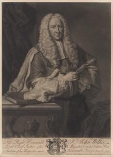 Sir John Willes, by John Faber Jr, after  Thomas Hudson, 1742 - NPG D18550 - © National Portrait Gallery, London