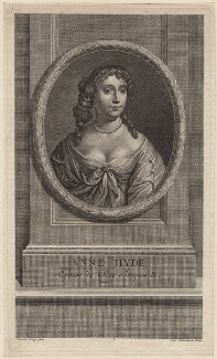 Anne Hyde, Duchess of York, by Charles Louis Simonneau (Simoneau), after  Sir Peter Lely, published 1707 - NPG D18592 - © National Portrait Gallery, London
