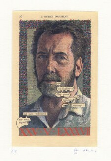 Tom Phillips ('Humument Self-Portrait at Fifty'), by Tom Phillips, 1987 - NPG D18630 - © DACS / Tom Phillips