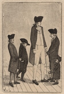 George Fairholme; John McGowan; Charles Byrne; Alexander Watson; Geordie Cranstoun, by John Kay, 1784 - NPG D18639 - © National Portrait Gallery, London