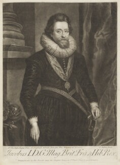 King James I of England and VI of Scotland, by John Faber Sr, published by  Thomas Bowles Sr, after  Sir Anthony van Dyck, after  Nicholas Hilliard, published circa 1700-1725 (1617) - NPG D18768 - © National Portrait Gallery, London