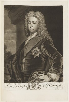Richard Boyle, 3rd Earl of Burlington and 4th Earl of Cork, by John Faber Jr, after  Sir Godfrey Kneller, Bt - NPG D18804