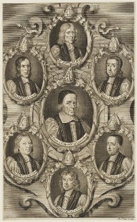 The Seven Bishops committed to the Tower in 1688, by Robert White, published by  Thomas Basset, published by  Thomas Fox - NPG D18862
