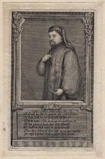 Geoffrey Chaucer, by George Vertue, after  Unknown artist - NPG D16238