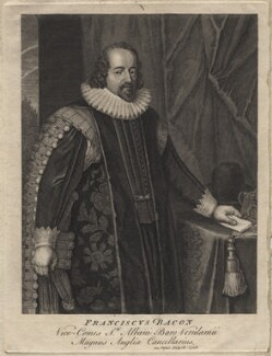 Francis Bacon, 1st Viscount St Alban, by George Vertue, after  Paul van Somer - NPG D16252