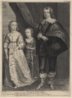 Anne, Lady Rockingham; Arabella, Viscountess Mountcashel; William Wentworth, 2nd Earl of Strafford, by George Vertue, after  Sir Anthony van Dyck - NPG D16283