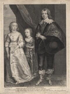 Anne, Lady Rockingham; Arabella, Viscountess Mountcashel; William Wentworth, 2nd Earl of Strafford, by George Vertue, after  Sir Anthony van Dyck - NPG D16284