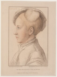 King Edward VI, by Francesco Bartolozzi, published by  John Chamberlaine, after  Hans Holbein the Younger - NPG D18950
