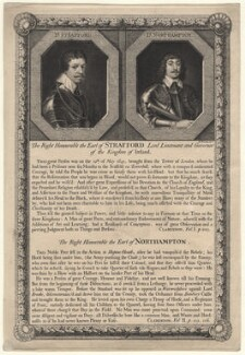 Thomas Wentworth, 1st Earl of Strafford; Spencer Compton, 2nd Earl of Northampton, by George Vertue, after  Sir Anthony van Dyck, and after  Cornelius Johnson (Cornelius Janssen van Ceulen) - NPG D16347