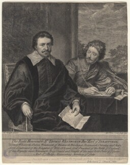 Thomas Wentworth, 1st Earl of Strafford; Sir Philip Mainwaring, by George Vertue, after  Sir Anthony van Dyck - NPG D16346
