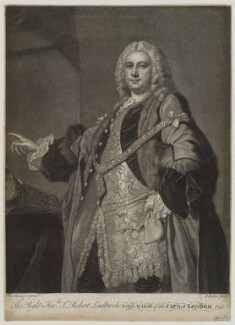Sir Robert Ladbroke, by John Faber Jr, after  Thomas Hudson - NPG D19101
