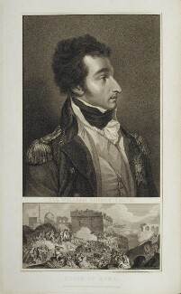 Sir William Sidney Smith with 'Seige of Acre', by and published by Anthony Cardon, and by  James Mitan, after  Sir Robert Ker Porter - NPG D19131