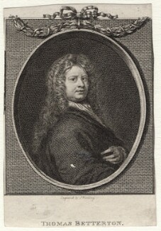 Thomas Betterton, by J. Wooding, after  Sir Godfrey Kneller, Bt - NPG D16407