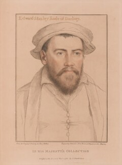 Edward Stanley, 3rd Earl of Derby, by Francesco Bartolozzi, published by  John Chamberlaine, after  Hans Holbein the Younger - NPG D19204