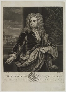 Sir Godfrey Kneller, Bt, by John Faber Jr, after  Sir Godfrey Kneller, Bt, 1735 (circa 1706-1711) - NPG D19209 - © National Portrait Gallery, London