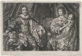 King Charles I; Henrietta Maria; and their two eldest children, King Charles II and Mary, Princess Royal and Princess of Orange, after Sir Anthony van Dyck - NPG D16422