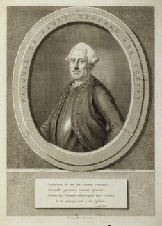 (Filippo Antonio) Pasquale Paoli, by Jacobus Houbraken, published by  E. van Harrevelt, after  S. Caron - NPG D19259