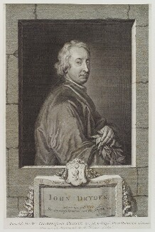 John Dryden, by George Vertue, after  Sir Godfrey Kneller, Bt - NPG D19358