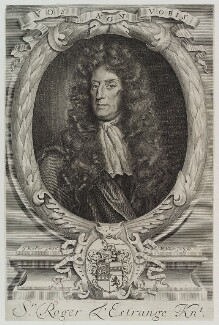Sir Roger L'Estrange, by Robert White, after  Sir Godfrey Kneller, Bt - NPG D19361