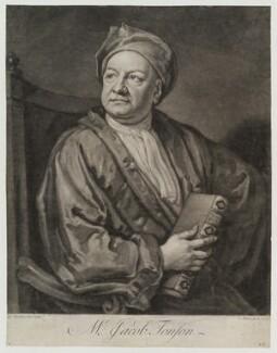 Jacob Tonson I, by John Faber Jr, after  Sir Godfrey Kneller, Bt - NPG D19395