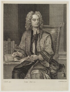 Jonathan Swift, by Paul Fourdrinier, after  Charles Jervas, (circa 1718) - NPG D19420 - © National Portrait Gallery, London