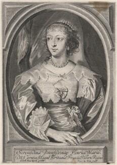 Henrietta Maria, by Pieter de Jode II, after  Sir Anthony van Dyck - NPG D16479