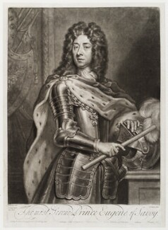 Prince Eugène of Savoy, by and sold by John Simon, and sold by  Edward Cooper, and sold by  Henry Overton, after  Sir Godfrey Kneller, Bt - NPG D19471