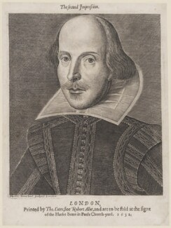 William Shakespeare, by Martin Droeshout, printed by  Thomas Cotes, printed for  Robert Allot - NPG D16530
