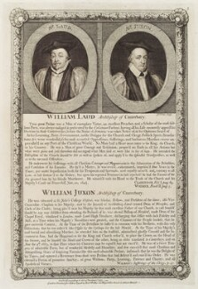 William Laud; William Juxon, by George Vertue, published by  John Ryall, and published by  Robert Withy - NPG D19544