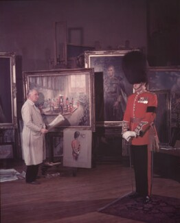Frank Ernest Beresford with a soldier, by (Edward) Russell Westwood - NPG x126493