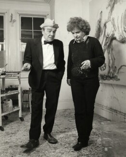 Max Wall; Maggi Hambling, by Prudence Cuming, 21 December 1982 - NPG  - © National Portrait Gallery, London