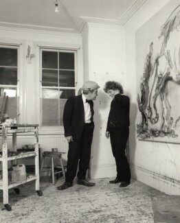 Max Wall; Maggi Hambling, by Prudence Cuming, 21 December 1982 - NPG x126703 - © National Portrait Gallery, London