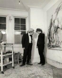 Max Wall; Maggi Hambling, by Prudence Cuming, 21 December 1982 - NPG x126703 - © National Portrait Gallery, London