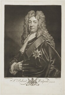 Robert Walpole, 1st Earl of Orford, by John Faber Jr, after  Sir Godfrey Kneller, Bt - NPG D19606