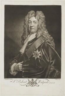 Robert Walpole, 1st Earl of Orford, by John Faber Jr, after  Sir Godfrey Kneller, Bt, 1733 - NPG D19606 - © National Portrait Gallery, London
