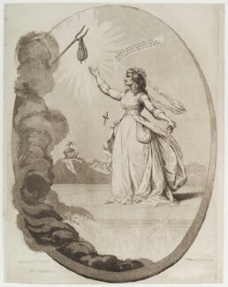 Sarah Siddons (née Kemble) as Melpomene, by James Gillray, published by  James Ridgway, published 6 December 1784 - NPG D19729 - © National Portrait Gallery, London
