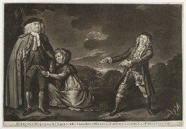 'Mr Shuter, Mr Quick and Mrs Green in the characters of Hardcastle', by Robert Laurie, printed for  Robert Sayer, printed for  John Bennett, after  Thomas Parkinson - NPG D19744