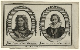 John Churchill, 1st Duke of Marlborough; George Villiers, 1st Duke of Buckingham, by William Grainger, published by  Alexander Hogg, after  Sir Godfrey Kneller, Bt, and after  Unknown artist - NPG D16641